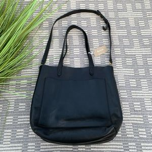 Madewell black leather transport tote